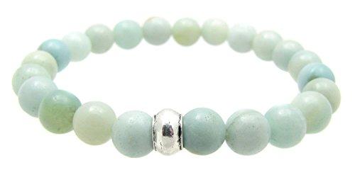 5th Throat Chakra Bracelet Amazonite Gemstone Beaded Elastic, 7 3/4