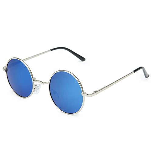Joopin-Round Retro Polaroid Sunglasses Driving Polarized Sun Glasses Men Steampunk Vintage (Ice - Glasses Blue Round