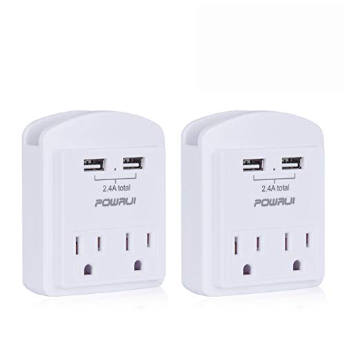 USB Wall Charger, Small Surge Protector, POWRUI USB Outlet with 2 USB Ports (2.4A Total) and Top Phone Holder for Apple, iPhone, iPad, Samsung, 1080Joules, White (2-Pack), ETL ()