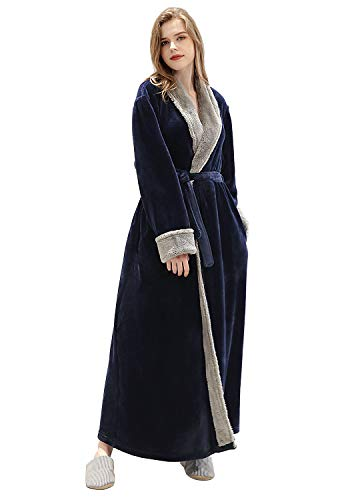 Women Long Robes Soft Fleece Winter Warm Housecoats Womens Bathrobe Dressing Gown Sleepwear Pajamas Top (Navy Blue, XL)