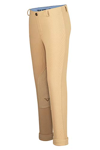(TuffRider Girl's Ribb Lowrise Pull-On Jods, Light Tan, 8)