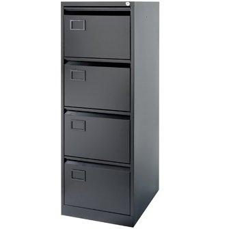 Bisley Aoc 4 Drawer Foolscap Filing Cabinet - Black