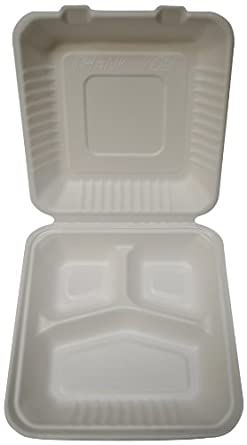 """PrimeWare PLA-39 White Molded Fiber Hinged Lid Container, 9"""" Length x 9"""" Width x 3-3/16"""" Height, Large, 3-Section, PLA-Lined (Case of 160)"""