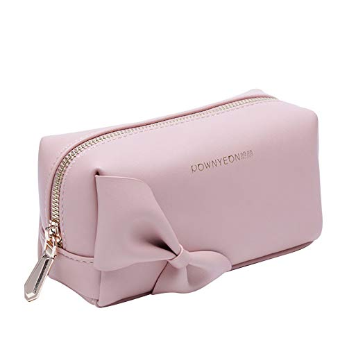 Rownyeon Small Makeup Bag Handy Travel Cosmetic Toiletry Pouch Bow-knot Cute Handbag Leather Purse for Women Girls