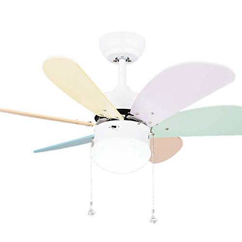 Glass Light Childrens Pendant (BAYCHEER HL476406 Indoor Ceiling Fan with Light 42-inch Kids Colorful Fan Chandelier Pendant Light with Frosted Glass Single Light Ceiling Fan with Light Kit and Remote(White))