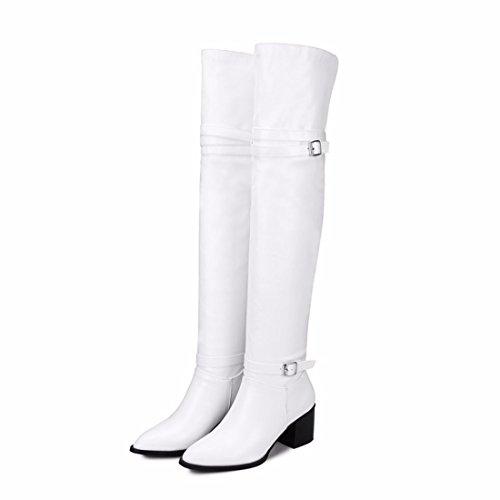Tamaño Rff Muslo Tacón Invierno Zapatos Shoes De Cinturón Botas Del Hembra White women's Hebilla Los Alto xSxwrgv