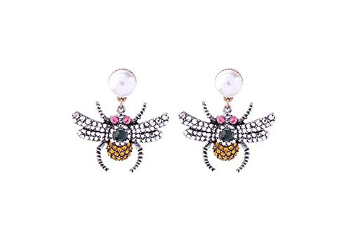 Chunky Bee Insect Clear Topaz Green Pink Crystal Antique Gold Chandelier Simulated Pearl Earrings Women Fashion Statement Jewelry