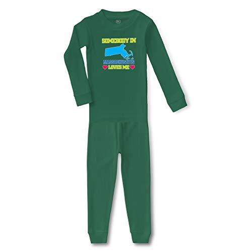 Somebody in Massachusetts Loves Me Cotton Crewneck Boys-Girls Infant Long Sleeve Sleepwear Pajama 2 Pcs Set Top and Pant - Kelly Green, 12 -
