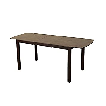 LES JARDINS Table Extensible Aluminium Ticao Marron: Amazon.fr: Jardin