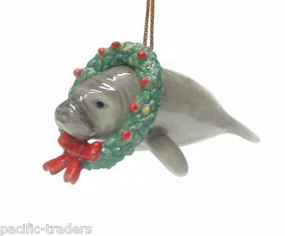 MANATEE N Christmas Ornament WREATH MINIATURE New Porcelain Northern Rose R178 by Eyedeal Figurines