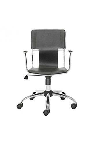 Trafico Office Chair Black. This fun and functional office chair combines a modern and transitional look. The Trafico office chair is made from a solid chrome frame, leatherette sling seat and arm pads, a chrome base, and an adjustable height mechanism. ()