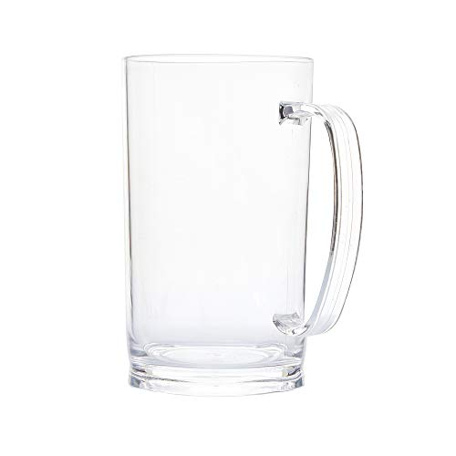 Acrylic Shatterproof Plastic Classic Beer Mugs with Handles. Perfect for Outdoor Drinking and Root Beer.Comes with 2 Clear Mugs