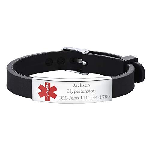 U7 Free Engraving Alert ID Bracelet Stainless Steel Rubber Silicone Emergency Type 1/2 Diabetic Medical Bracelets, Personalized Jewelry for Men Women Kids (Black)