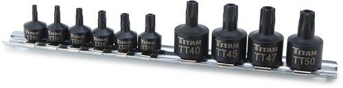 Low Profile Torx Socket - Titan Tools 16143 Low Profile Tamper Resistant Stubby Star Bit Socket Set - 10 Piece
