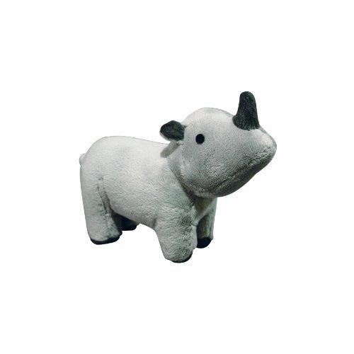 VIP Products Mighty Rhoni Rhinoceros Jr. Safari Dog Toy, Gray, My Pet Supplies
