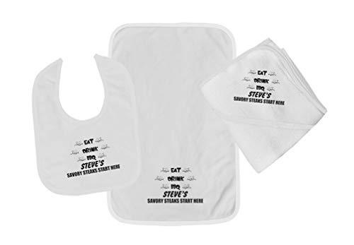 Personalized Custom Savory Steaks Cotton Boys-Girls Baby Bib-Burb-Towel Set - White, One Size