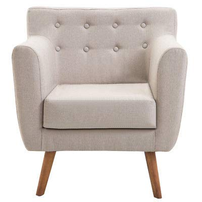 AK Energy Beige Arm Chair Tufted Back Fabric Upholstered Accent Chair Single Sofa Wood Leg 20