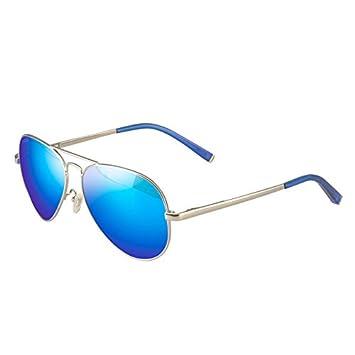 Gafas Gafas De Sol Polarizadas Femeninas Azules Cuadros De Nariz De Silicio Anti-UV Metal