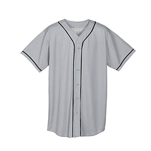 Augusta Sportswear Boys' Wicking MESH Button Front Baseball Jersey with Braid Trim M Silver Grey/Black