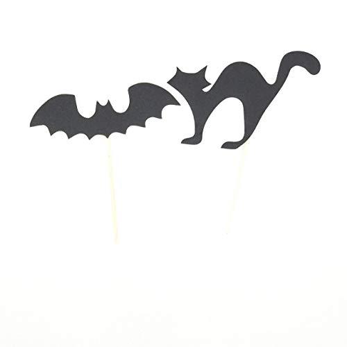 Halloween Cat And Bat Ornament Halloween Gift Black Felt Cat And Bat Halloween Cupcake Toppers -