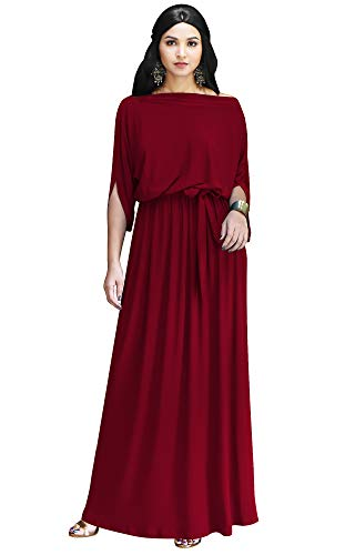 KOH KOH Plus Size Womens Long Flowy Casual Short Half Sleeve with Sleeves Fall Winter Floor Length Evening Modest A-line Formal Maternity Gown Gowns Maxi Dress Dresses, Crimson Dark Red 2XL 18-20