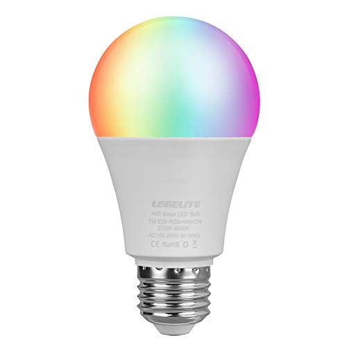 LEGELITE LED Smart Light Bulb, E26 7W WiFi Light Bulbs 2700K to 6500K Dimmable and RGBCW Color Changing, No Hub Required, Works with Amazon Echo Alexa Google Home and IFTTT, 60W Equivalent (1 Pack)