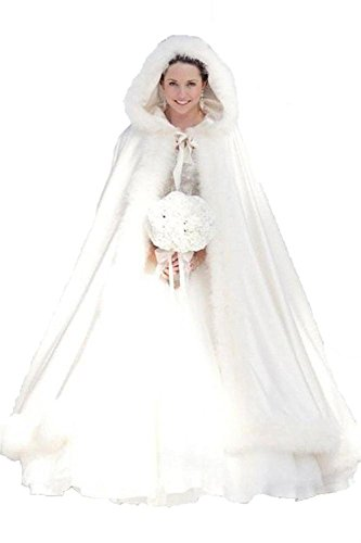QiJunGe Winter Women White Wraps Cape Faux Fur Wedding Coat For Bride Ivory by QiJunGe