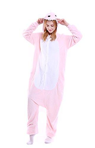 Yutown Unisex-adult Animal Onesie Pajamas Kigurumi Cosplay Costume Pink Dinosaur XL