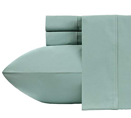 400-Thread-Count 100% Pure Cotton Sheets - 4-Piece Green Sage Cal King Sheet Set Long-Staple Combed Cotton Bed Sheets Hotel Quality Fits Mattress Upto 18'' Deep Pocket Soft Sateen Weave (Thread 400 Organic)