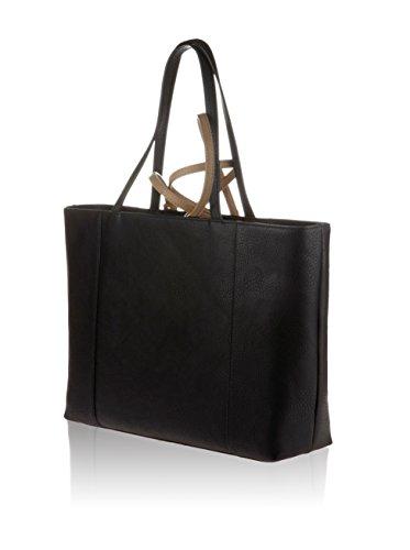 shopper Armani in eco-pelle bicolore con cerniera e tasche interne