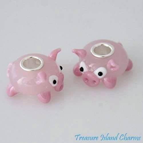 PIG PINK PIGGY PIGLET MURANO GLASS .925 Sterling Silver EUROPEAN Bead Charm Jewelry Making Supply Pendant Bracelet DIY Crafting by Wholesale Charms