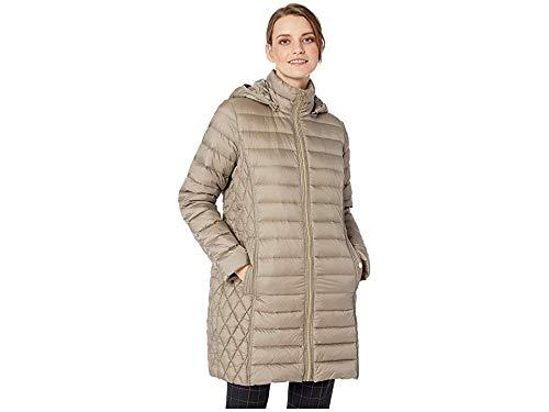 Michael Michael Kors Women's Zip Front 3/4 Packable with Hood M823687G32 Taupe Medium