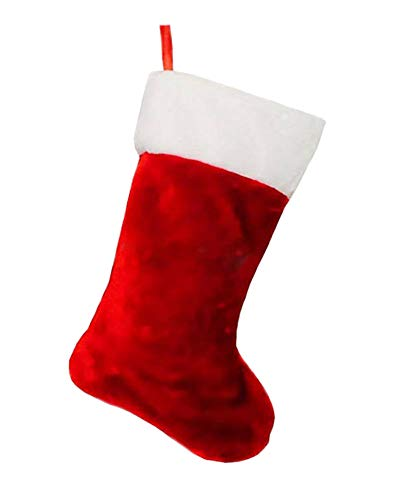 Red and White Velvety Plush Christmas Stocking - 8.5 in x 18 in (21.5 cm x 45.7 cm) by Christmas House (Stocking Christmas Red Plush)