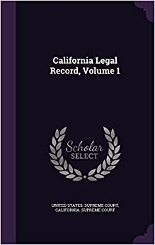 Book California Legal Record, Volume 1