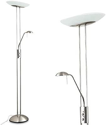 Lámpara de pie LED Lucca de color níquel con brazo de lectura