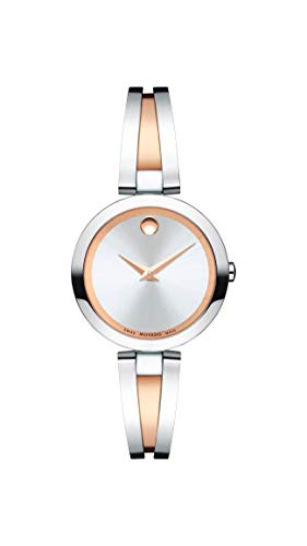- Movado Women's Aleena Two-Tone Watch with a Concave Dot Museum Dial, Gold/Silver/Red (Model 607151)