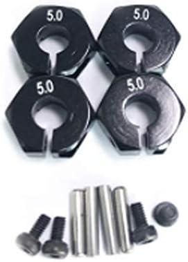 Harlls /Écrou Hexagonal de Roue en Aluminium de 5mm d/épaisseur 12mm avec goupilles de moyeu dentra/înement 102042 Pi/èces de Mise /à Niveau pour la Voiture Himoto-Noir 5.0mm de 4 Roues motrices RC