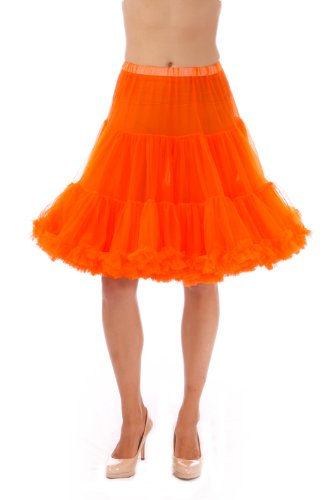 Malco Modes Luxury Vintage Knee-Length Crinoline Petticoat Skirt Pettiskirt, Adult Tutu for Rockabilly 50s Square Dance or Lolita Dress; Plus Size Petticoat Available Orange