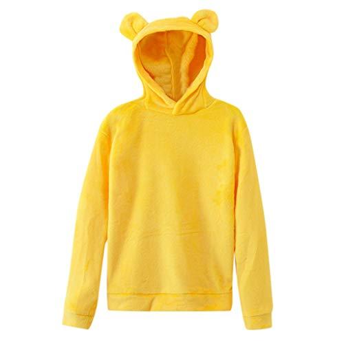 kaifongfu Womens Long Sleeve Warm Pullover Hoodie Plush Sweatshirt Tops Yellow (Kleidung Kurze Frauen)