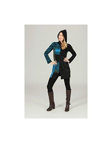 Aller Simplement - Chaqueta de algodón de rodilla con cremallera con 2 bolsillos y capucha ir SW909 Multicolor