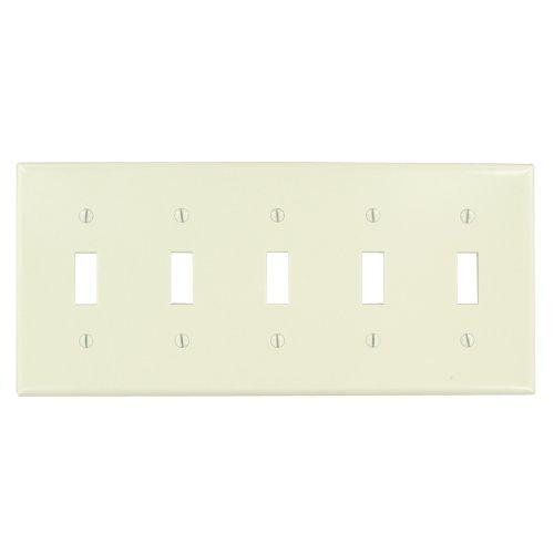 Leviton 78023 5-Gang Toggle Device Switch Wallplate, Standard Size, Thermoset, Device Mount, Light Almond (Switch Wall 5 Gang)