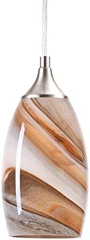 NALATI 1-Light Pendant Light Art Glass Hanging Light With Brushed Nickel Finish For Kitchen Islanda, Coffee Color
