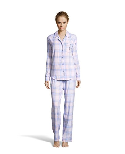 Flannel Loungewear (U.S. Polo Assn. Women's Logo Flannel Shirt and Pajama Pants Sleep Set White X-Large)
