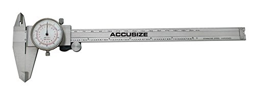 Accusize - 8'' x 0.001''/200mm x 0.02mm, Inch/Metric Dual Needle Precision Dial Caliper Stainles Steel, In Fitted Case, #P920-S238