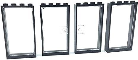2 x LEGO 60623 1x4x6 White Door 4 x 1x4x3 windows with clear plastic