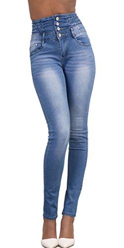 Pants A Sexy Jeans Bottoni Azzurro Moda Donna Alta Denim Con Vita Skinny Lungo Trousers nqUHgXUxCS