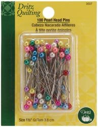 Dritz Bulk Buy Quilting Pearl Head Pins 1 1/2 inch 100 Pack 3037 (3-Pack) by Dritz