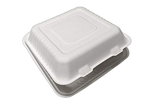 Primeware Bagasse Hinged Lid Container - Medium 3-Section 7.875 x 8 x 2.5'' - 200/Cs (2 x 100)