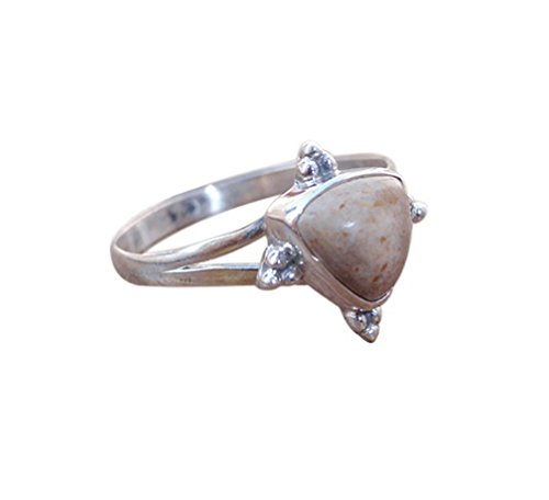 Triangle Shape, Picture Jasper Gemstone Ring, Solid 925 Silver Ring Jewelry for women, Size US 7, 7.5, 8, 8.5 (8) (Ring Cabochon Picture Jasper)