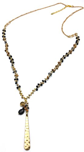 (DEW Drops Onyx Black Agate & Crystal , Glod Plated Pendant Necklace 28